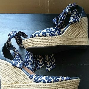 Navy print lace up UGG wedges